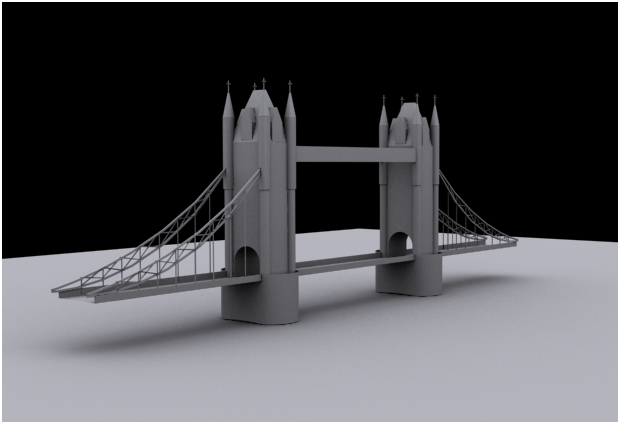 "create ""London bridge at a distance"" in 3ds max"
