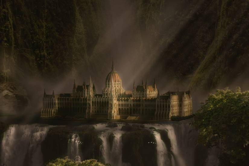 palace waterfalls photo manipulation